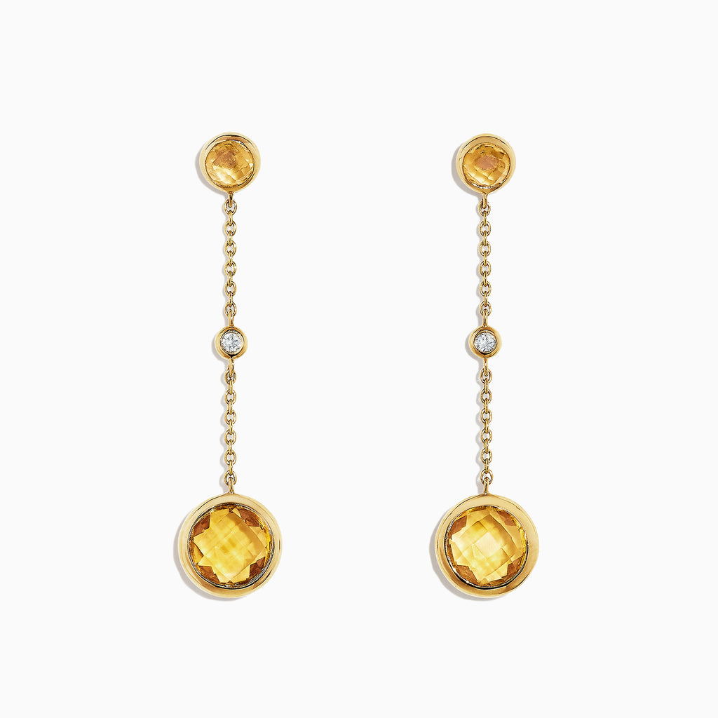 Effy Sunset 14K Yellow Gold Citrine and Diamond Earrings, 2.54 TCW