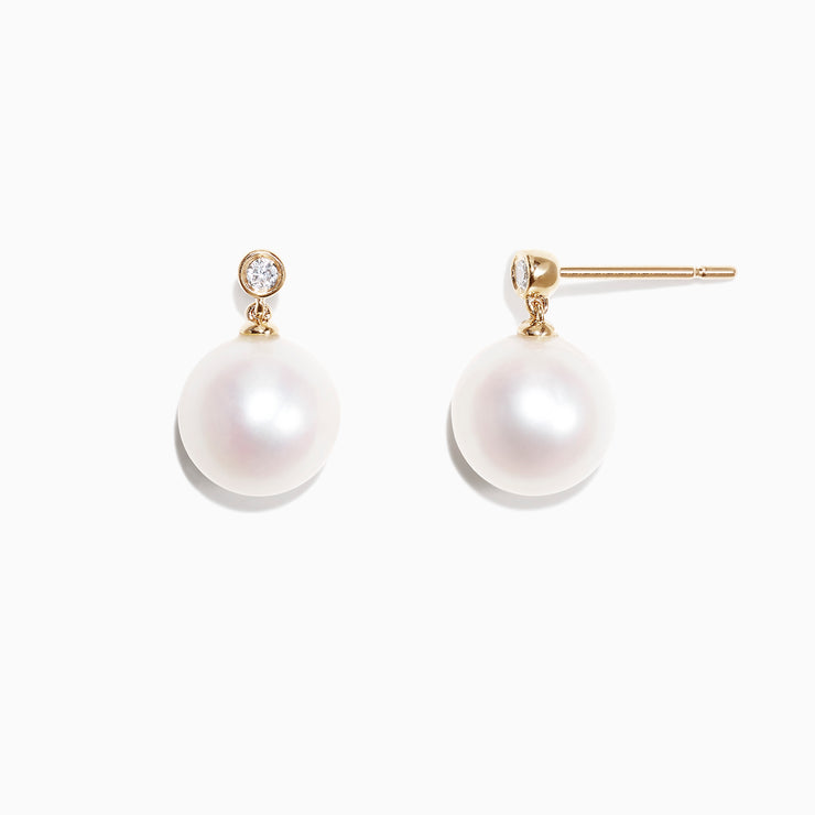 Effy 14K Yellow Gold Cultured Fresh Water Pearl & Earrings, 0.05 TCW