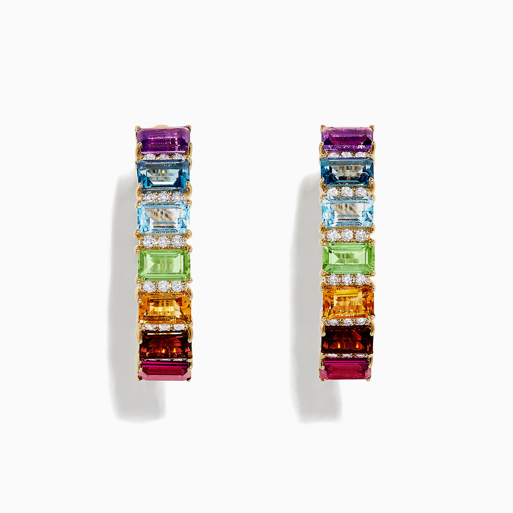 Effy Mosaic 14K Yellow Gold Multi Gemstone and Diamond Earrings, 5.51 TCW
