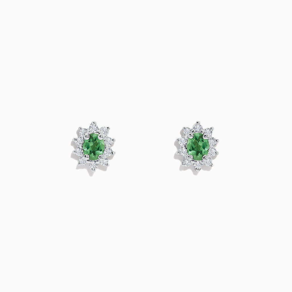 Effy 14K White Gold Alexandrite and Diamond Stud Earrings, 1.05 TCW