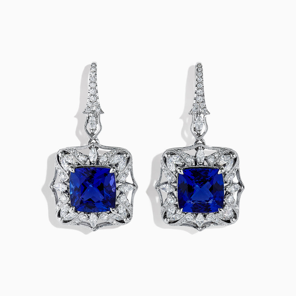 Effy Tanzanite Royale 18K Gold Tanzanite and Diamond Earrings, 20.72 TCW