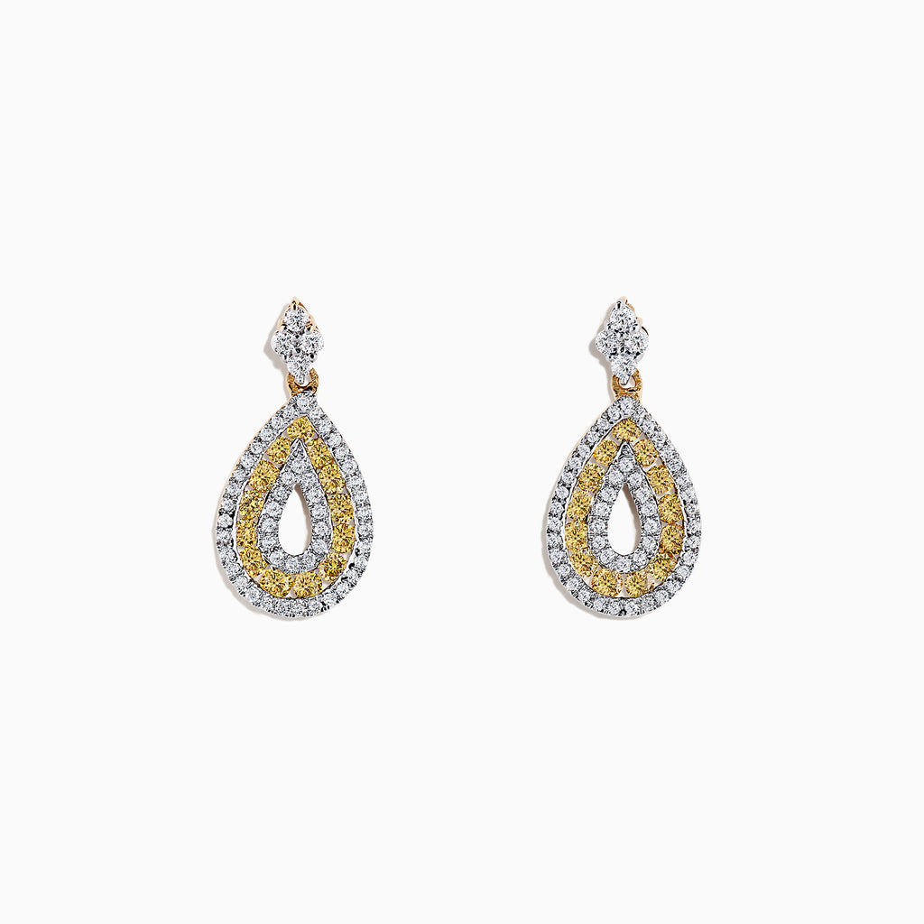 14K Yellow Gold Yellow and White Diamond Earrings, 1.25 TCW