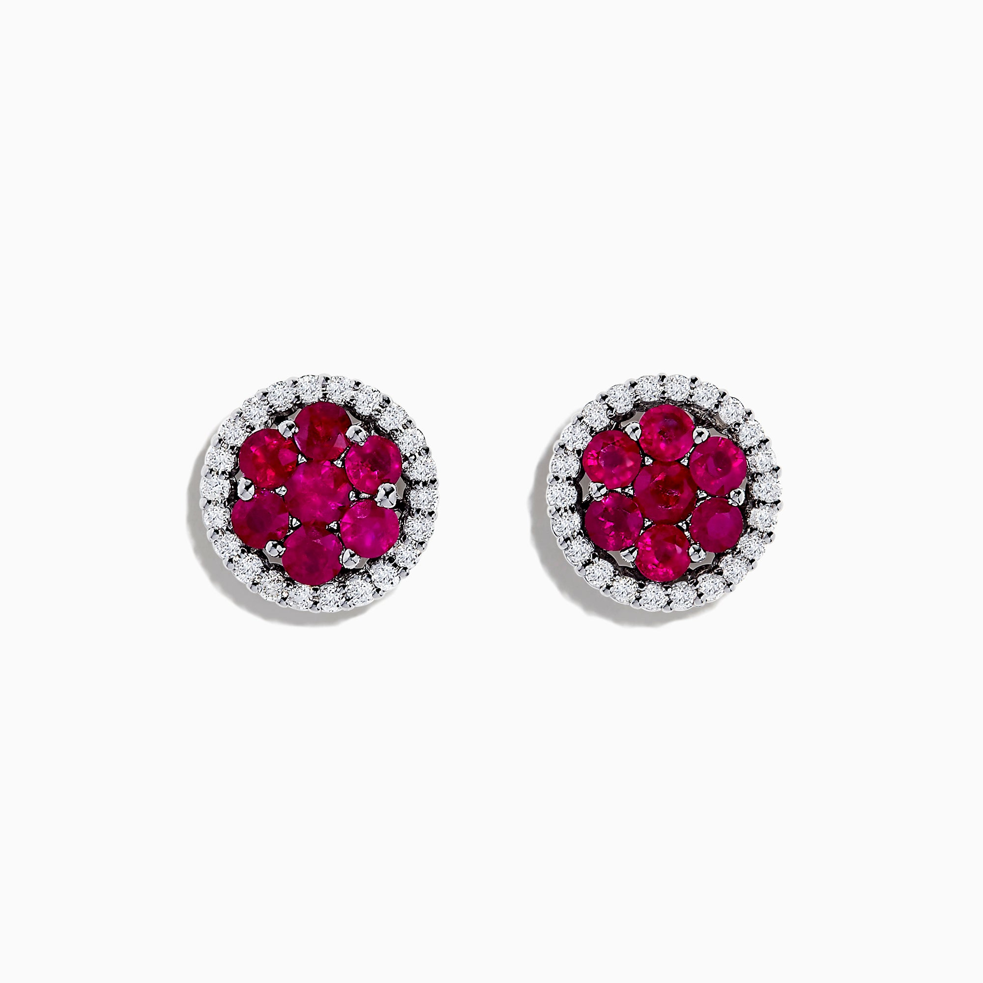 18K White Gold Ruby and Diamond Stud Earrings, 1.76 TCW