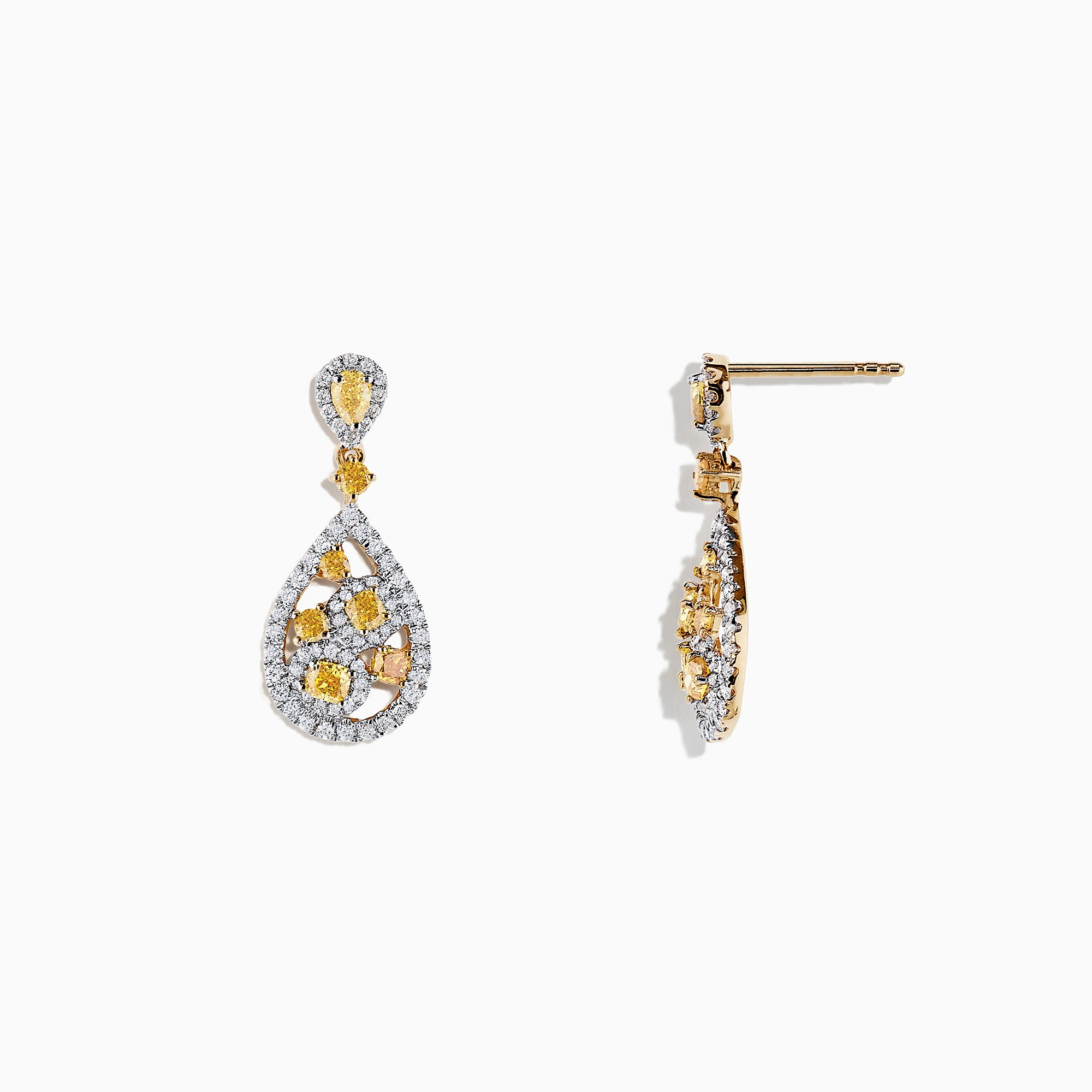 14K Two Tone Gold Yellow and White Diamond Drop Earrings, 1.40 TCW