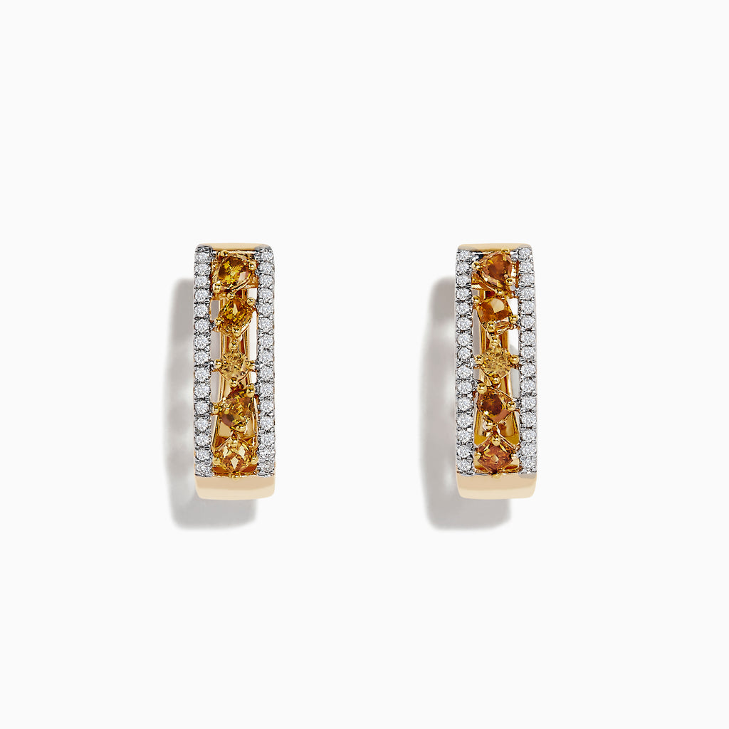 14K Gold Fancy Yellow and White Diamond Hoop Earrings, 1.00 TCW