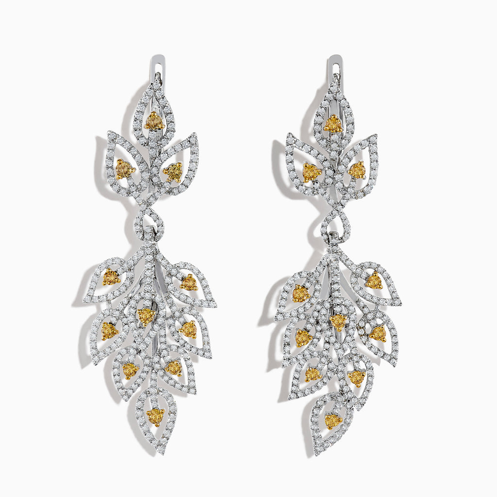 18K White Gold White and Fancy Yellow Diamond Leaf Drop Earrings, 2.75 TCW
