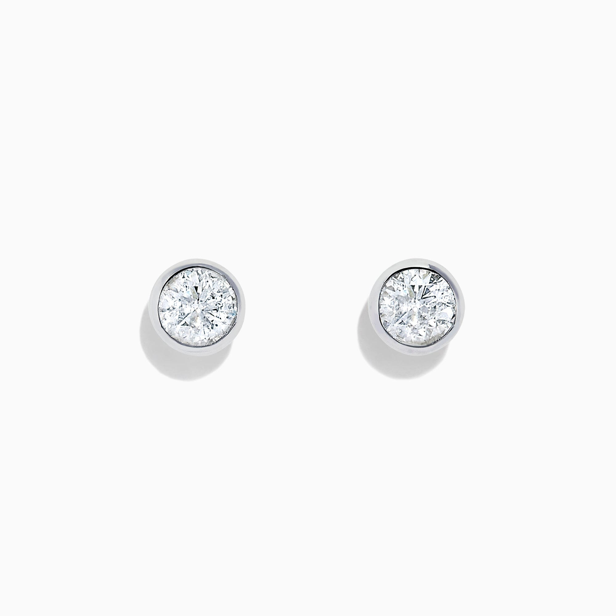 Effy 14K White Gold Diamond Bezel Set Stud Earrings, 0.98 TCW