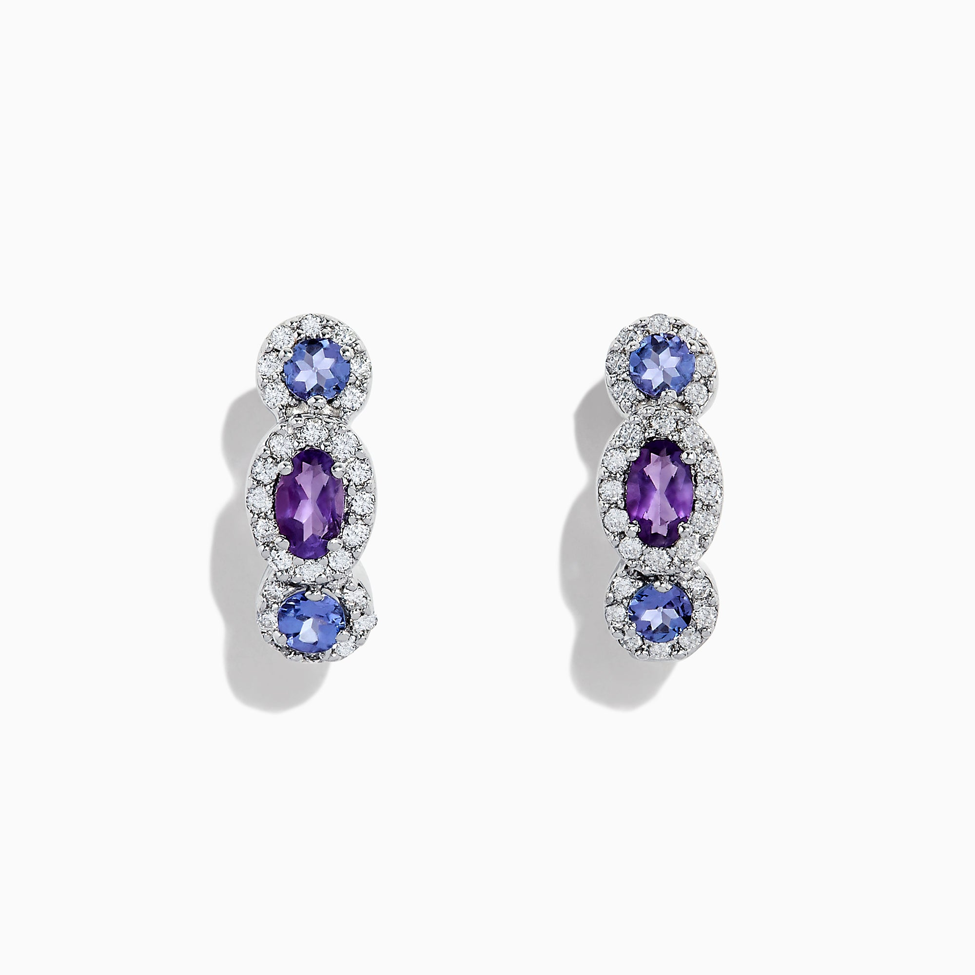 Effy 14K White Gold Tanzanite, Amethyst and Diamond Earrings, 1.64 TCW