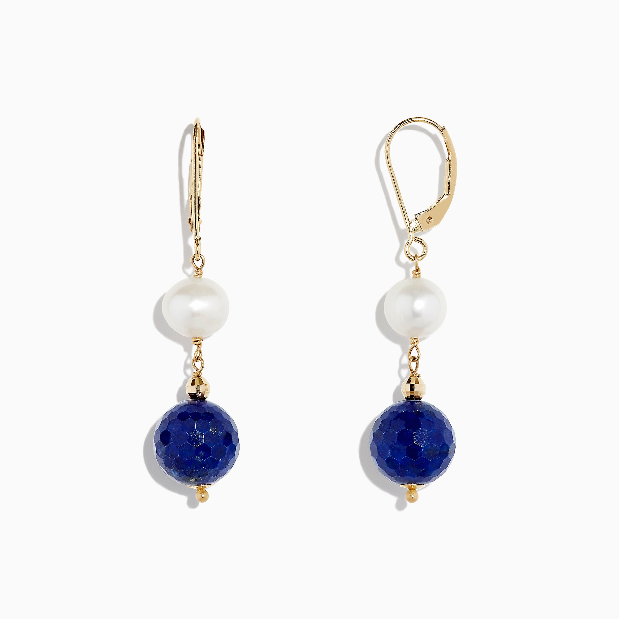Effy 14K Yellow Gold Lapis Lazuli & Cultured Fresh Water Pearl Drop Earrings, 1.50 TCW