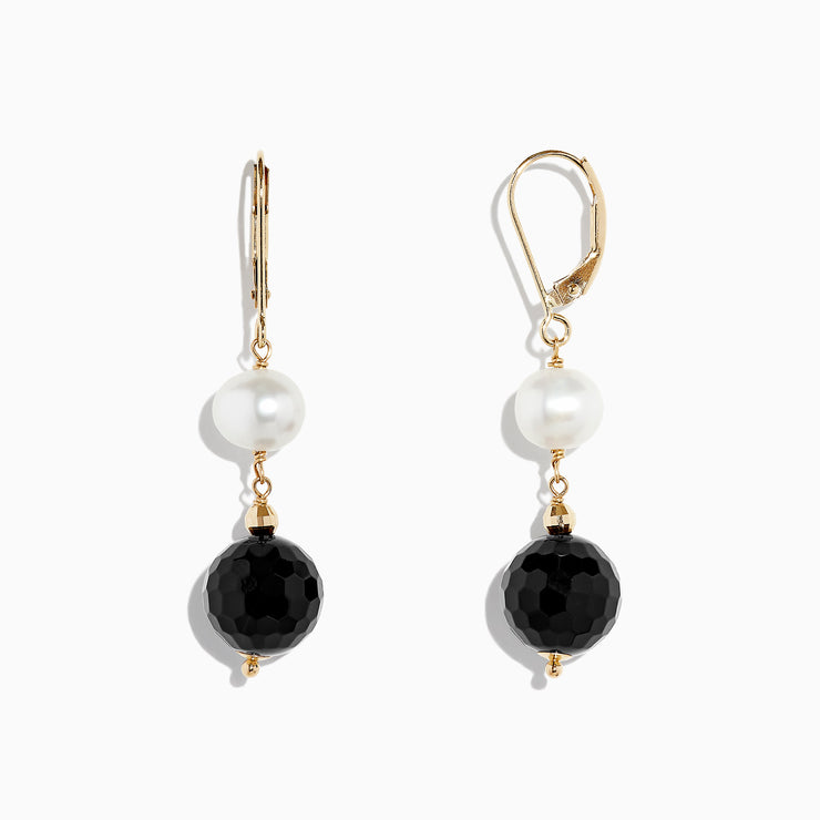Effy 14K Yellow Gold Onyx and Cultured Fresh Water Pearl Drop Earrings, 14.50 TCW