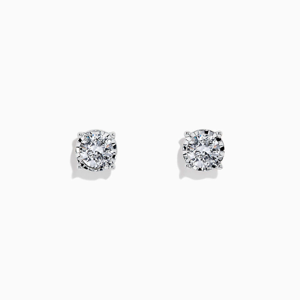 Effy Pave Classica 14K White Gold Diamond Stud Earrings, 0.98 TCW