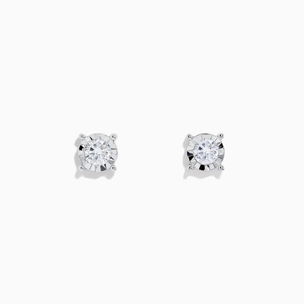 Efy Pave Classica 14K White Gold Diamond Stud Earrings, 0.49 TCW