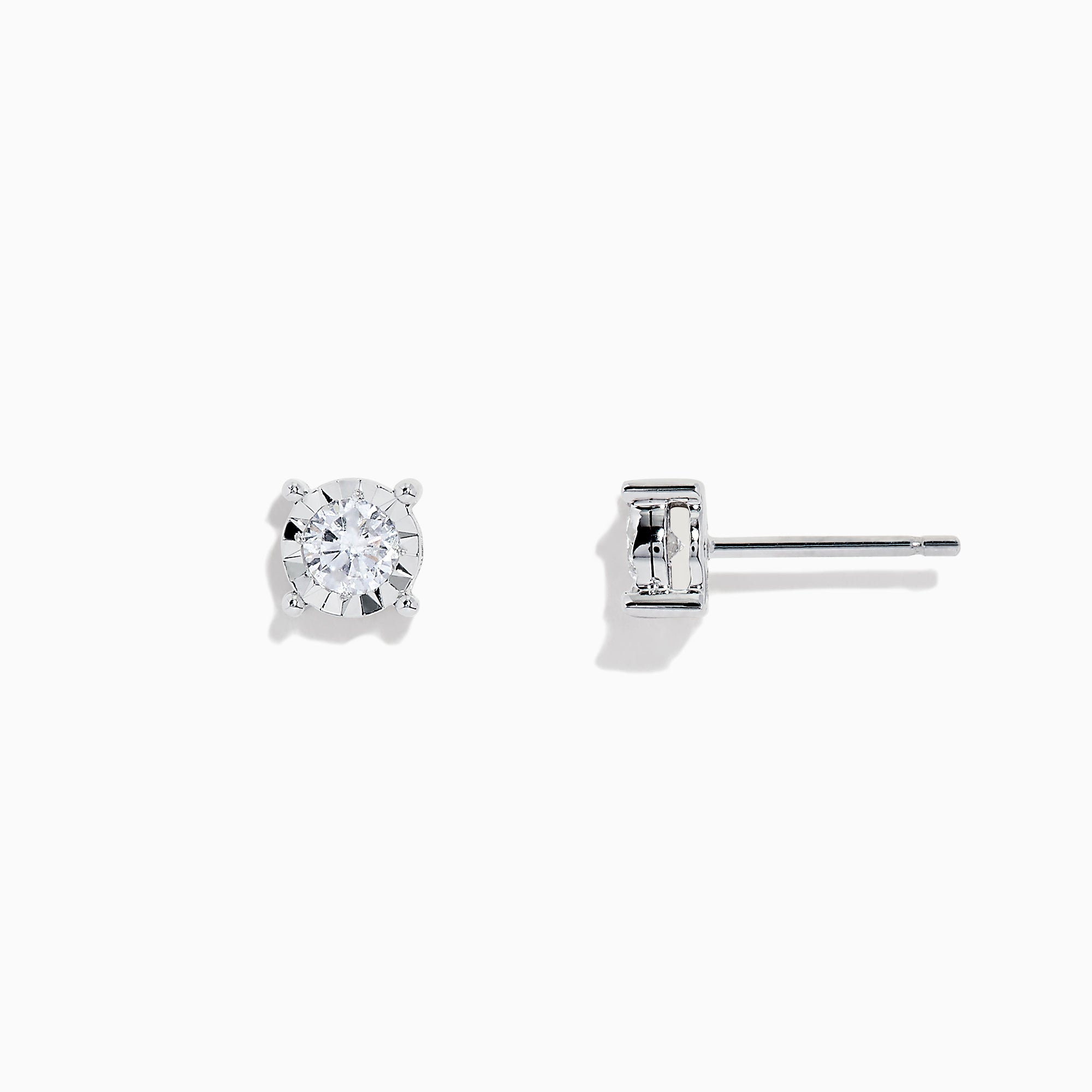 Effy Pave Classica 14K White Gold Diamond Stud Earrings, 0.49 TCW