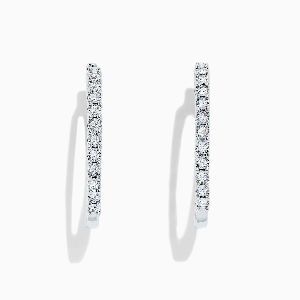 Effy 925 Sterling Silver Diamond Hoop Earrings, 0.24 TCW