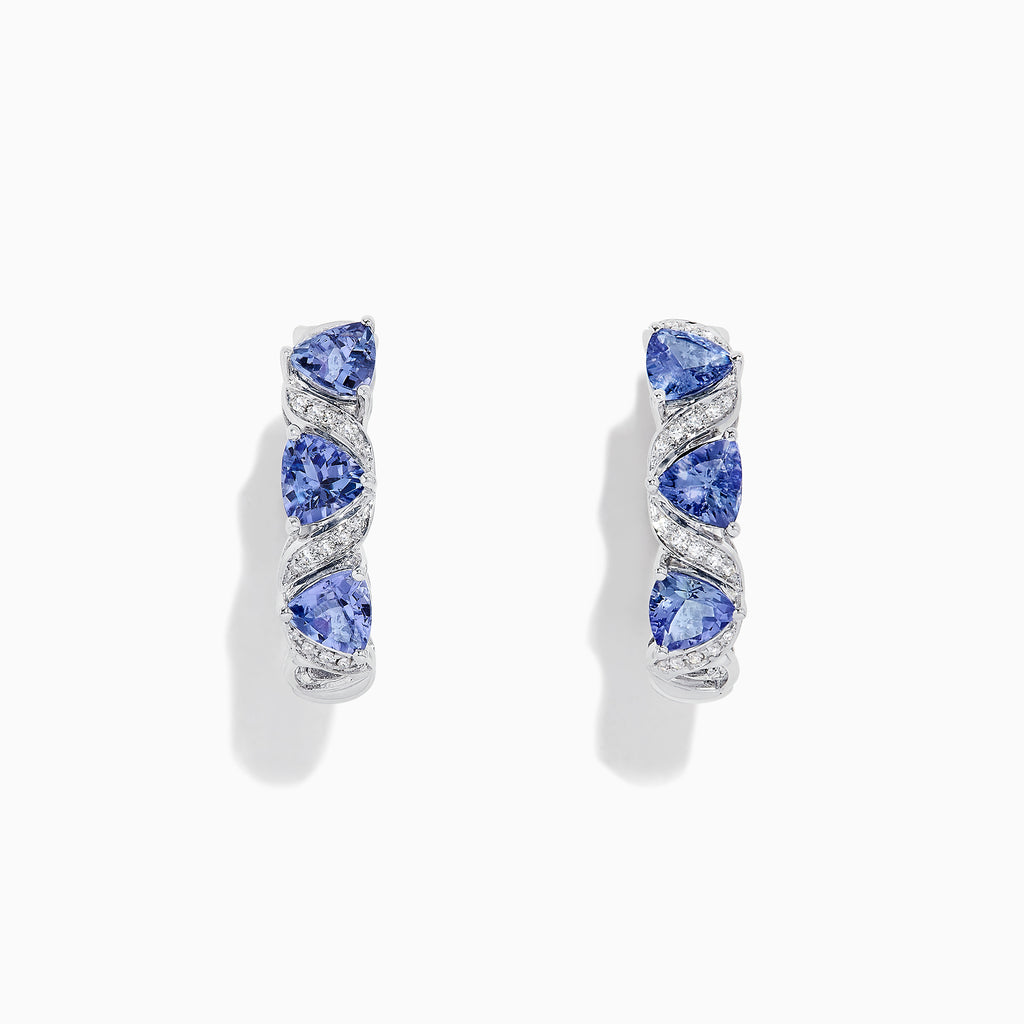 Effy Tanzanite Royale 14K Gold Tanzanite & Diamond Hoop Earrings, 2.43 TCW