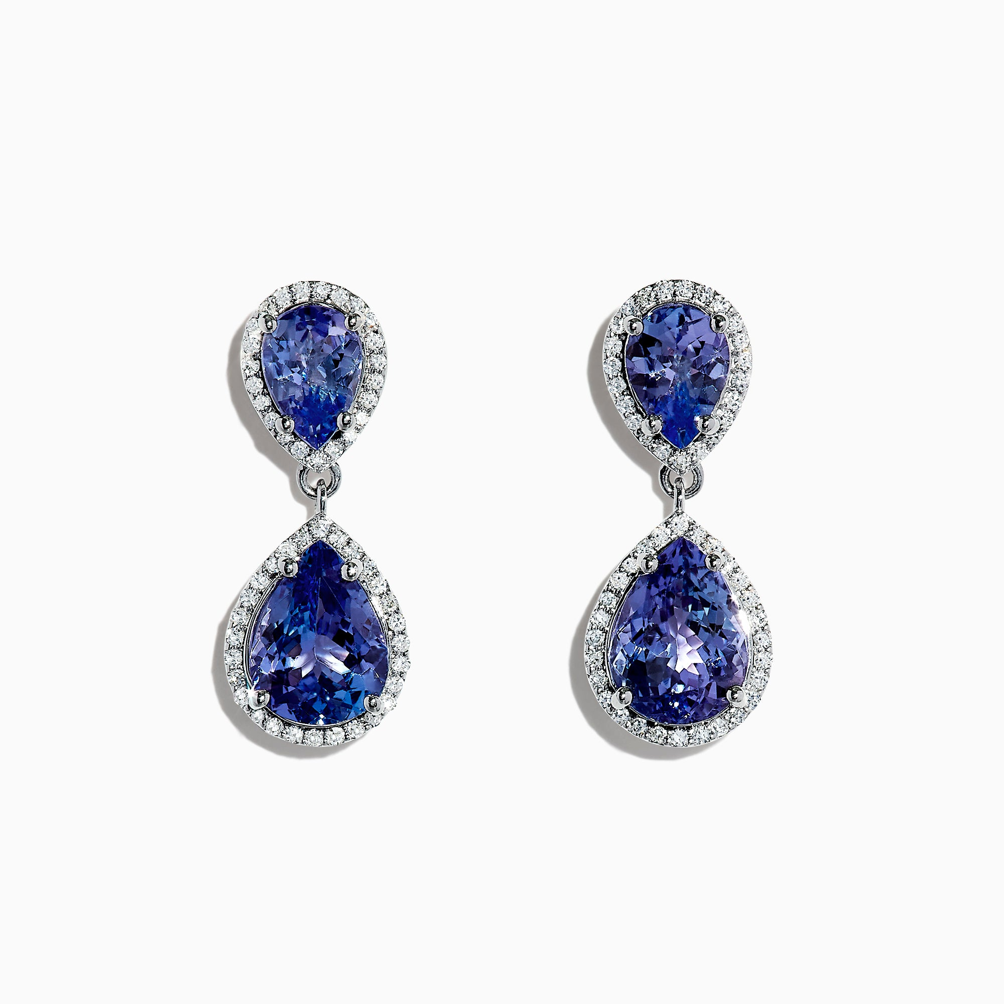 Effy Tanzanite Royale 14K White Gold Tanzanite and Diamond Drop Earrings, 5.00 TCW