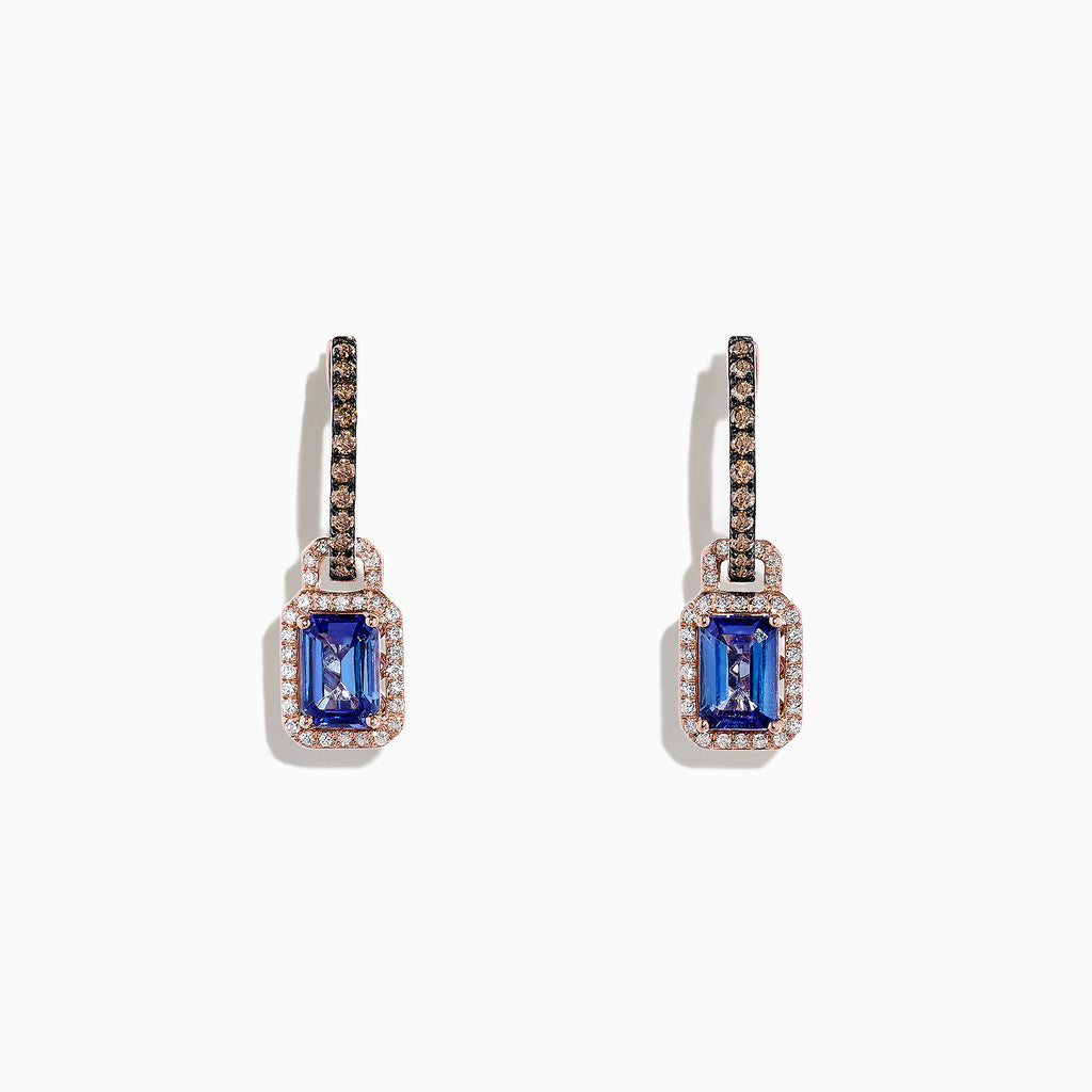 512bd68ea Effy Tanzanite Royale 14K Rose Gold Tanzanite and Diamond Earrings, 2.22 TCW