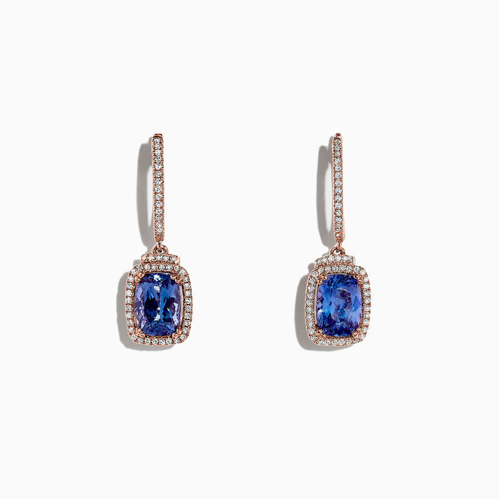 Effy Tanzanite Royale 14K Rose Gold Tanzanite & Diamond Earrings, 3.10 TCW