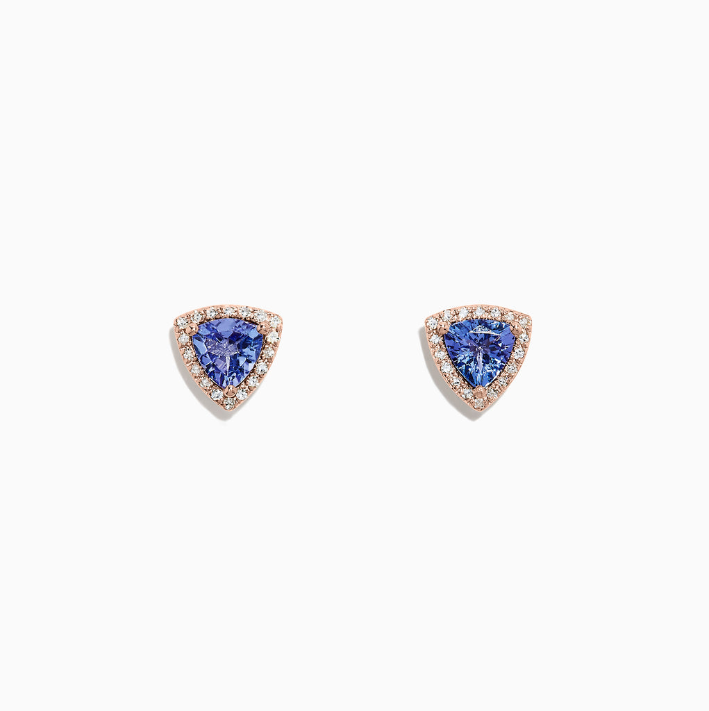 Effy Tanzanite Royale 14K Rose Gold Tanzanite & Diamond Earrings, 1.19 TCW