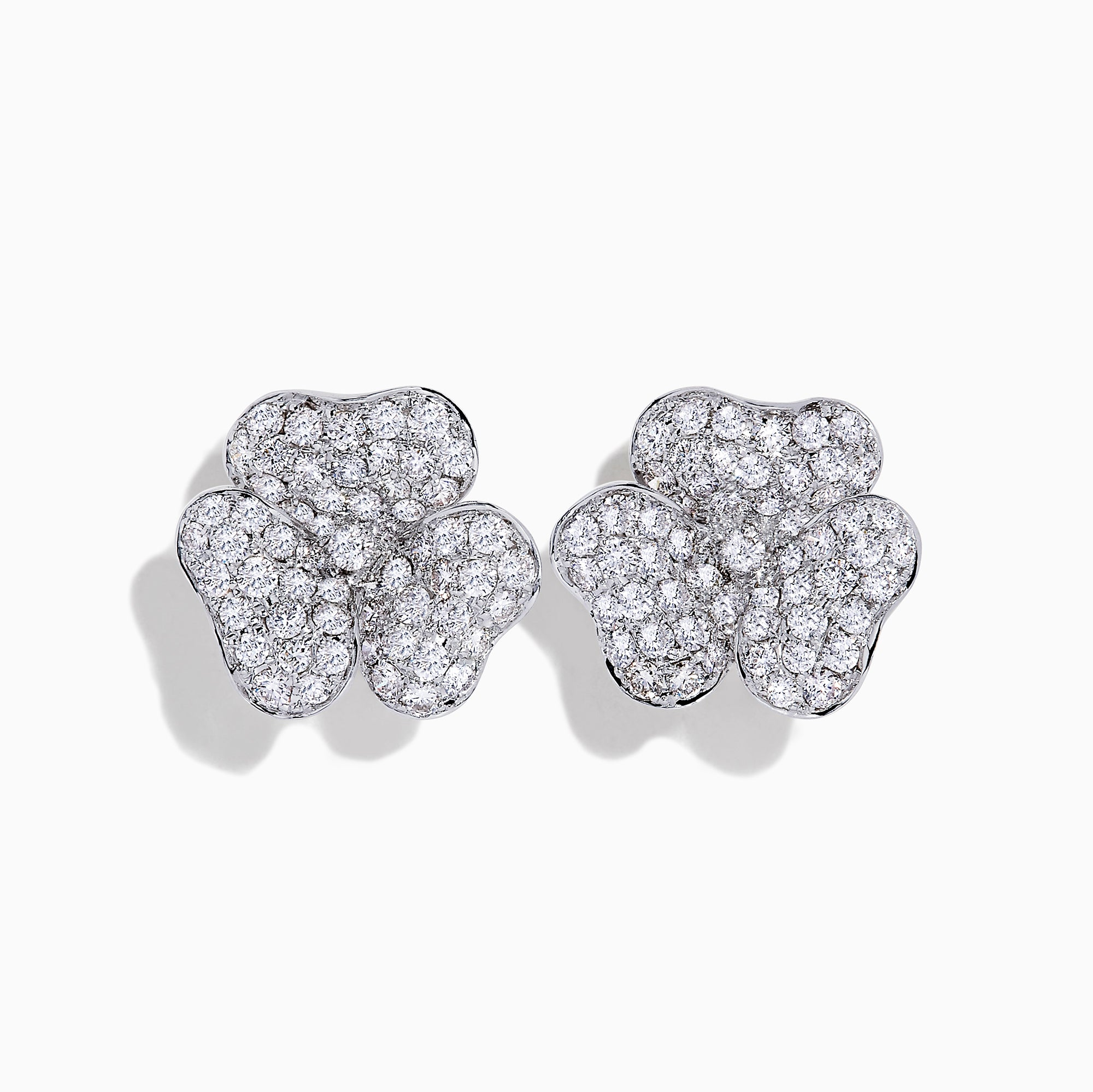 Effy 14K White Gold Diamond Flower Earrings, 2.20 TCW