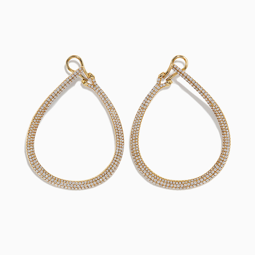 18K Yellow Gold Diamond Earrings, 1.87 TCW