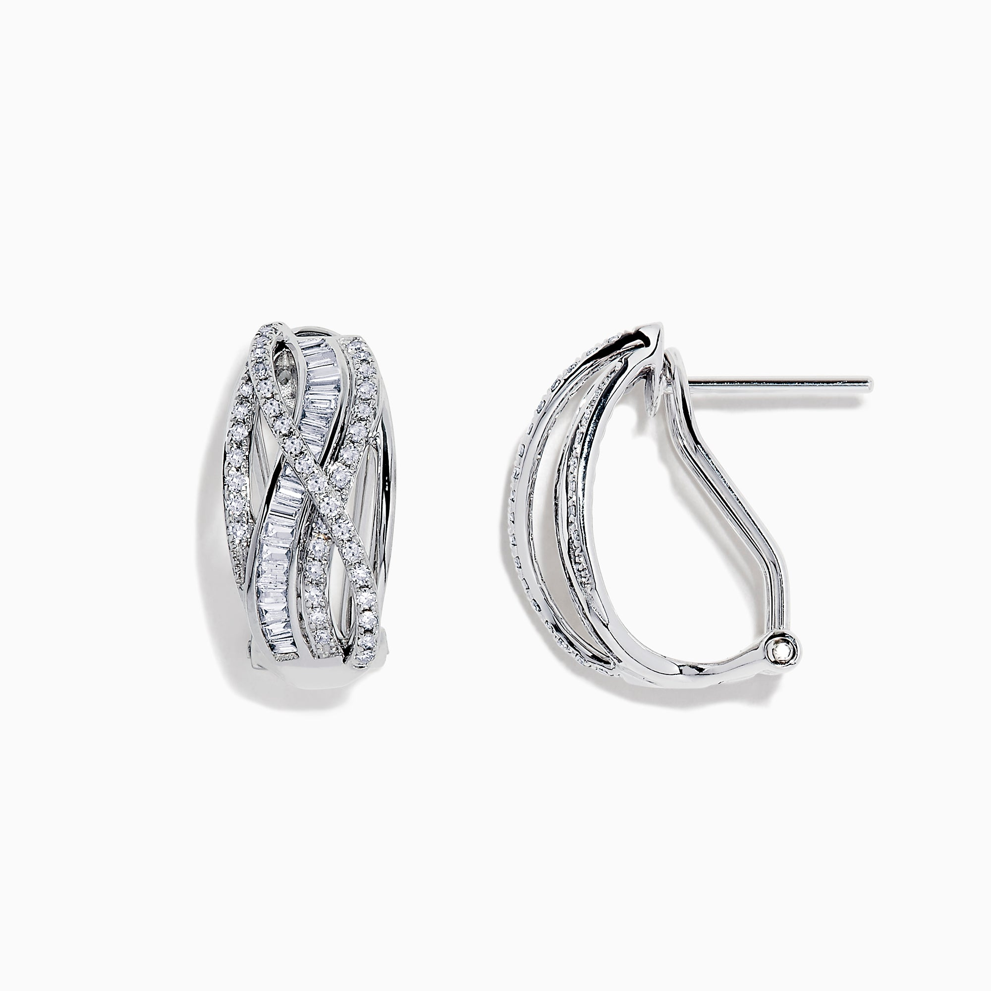 Effy Classique 14K White Gold Diamond Cross Over Earrings, 0.52 TCW