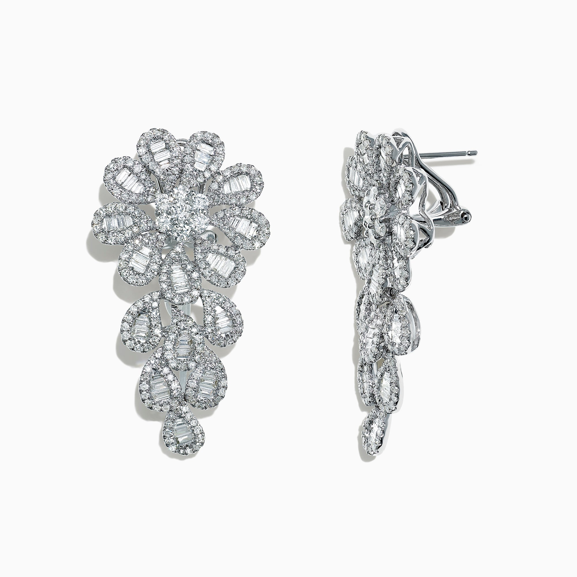 Effy Classique 14K White Gold Diamond Floral Earrings, 2.83 TCW