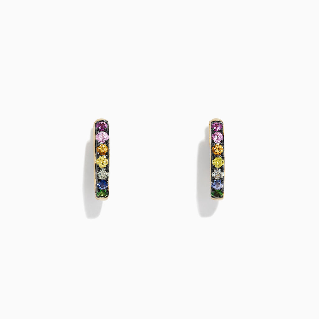 Effy Watercolors 14K Gold Multi Sapphire Mini Hoop Earrings, 0.66 TCW