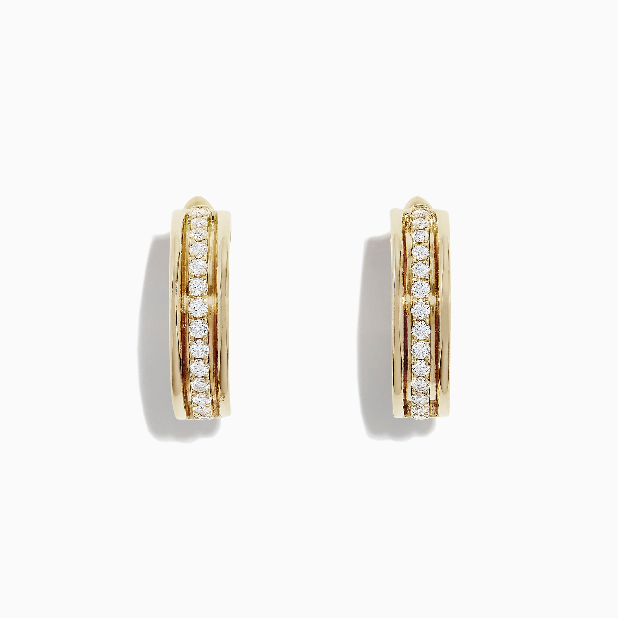 Effy D'Oro 14K Yellow Gold Diamond Huggie-Hoop Earrings, 0.34 TCW