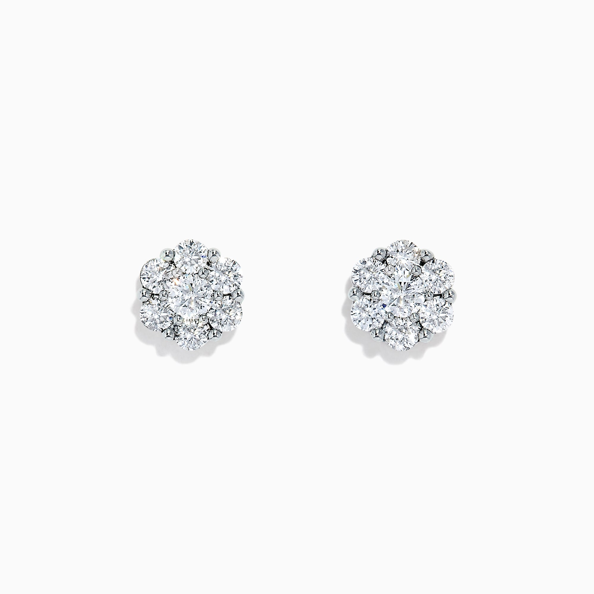 Effy Bouquet 14K White Gold Diamond Cluster Stud Earrings, 0.97 TCW