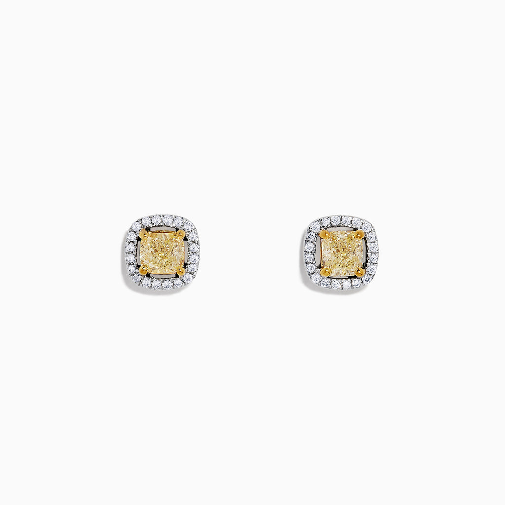 Effy Canare 14K White Gold Yellow and White Diamond Stud Earrings, 0.84 TCW