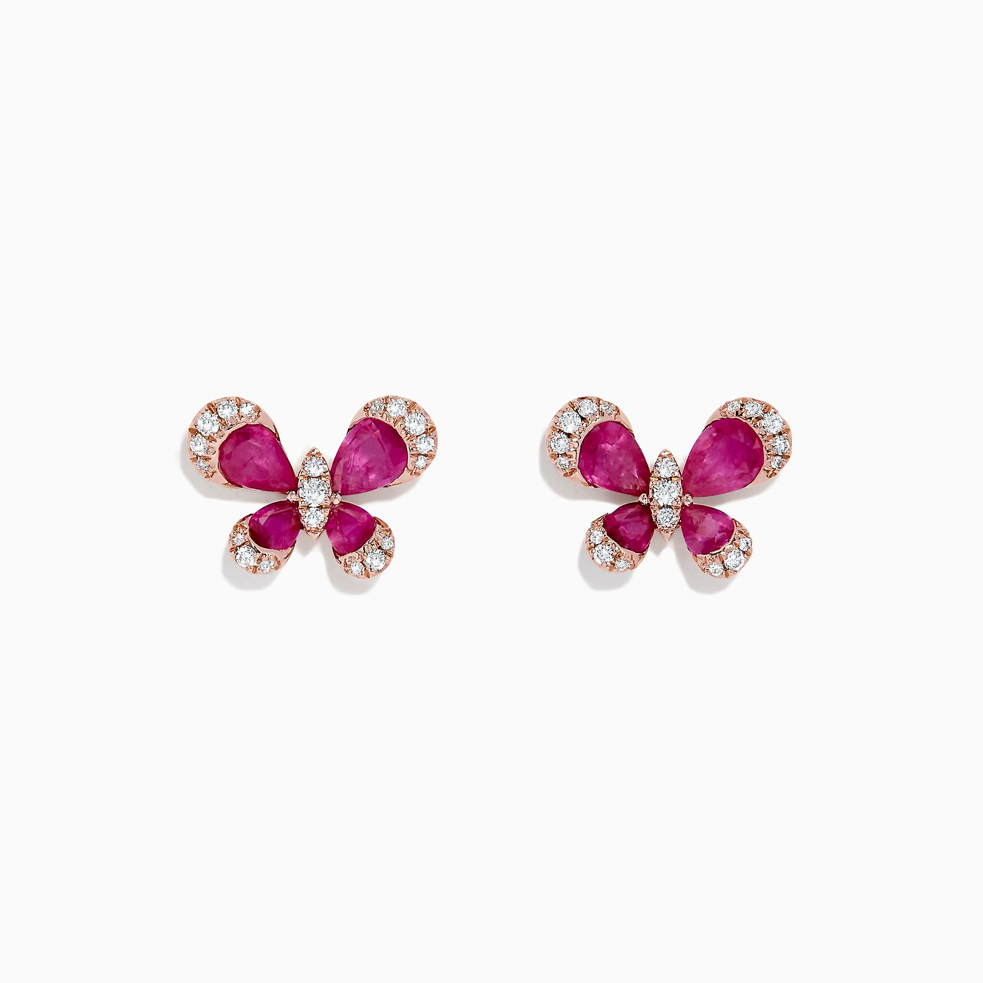 Effy Nature 14K Rose Gold Ruby and Diamond Butterfly Earrings, 2.44 TCW