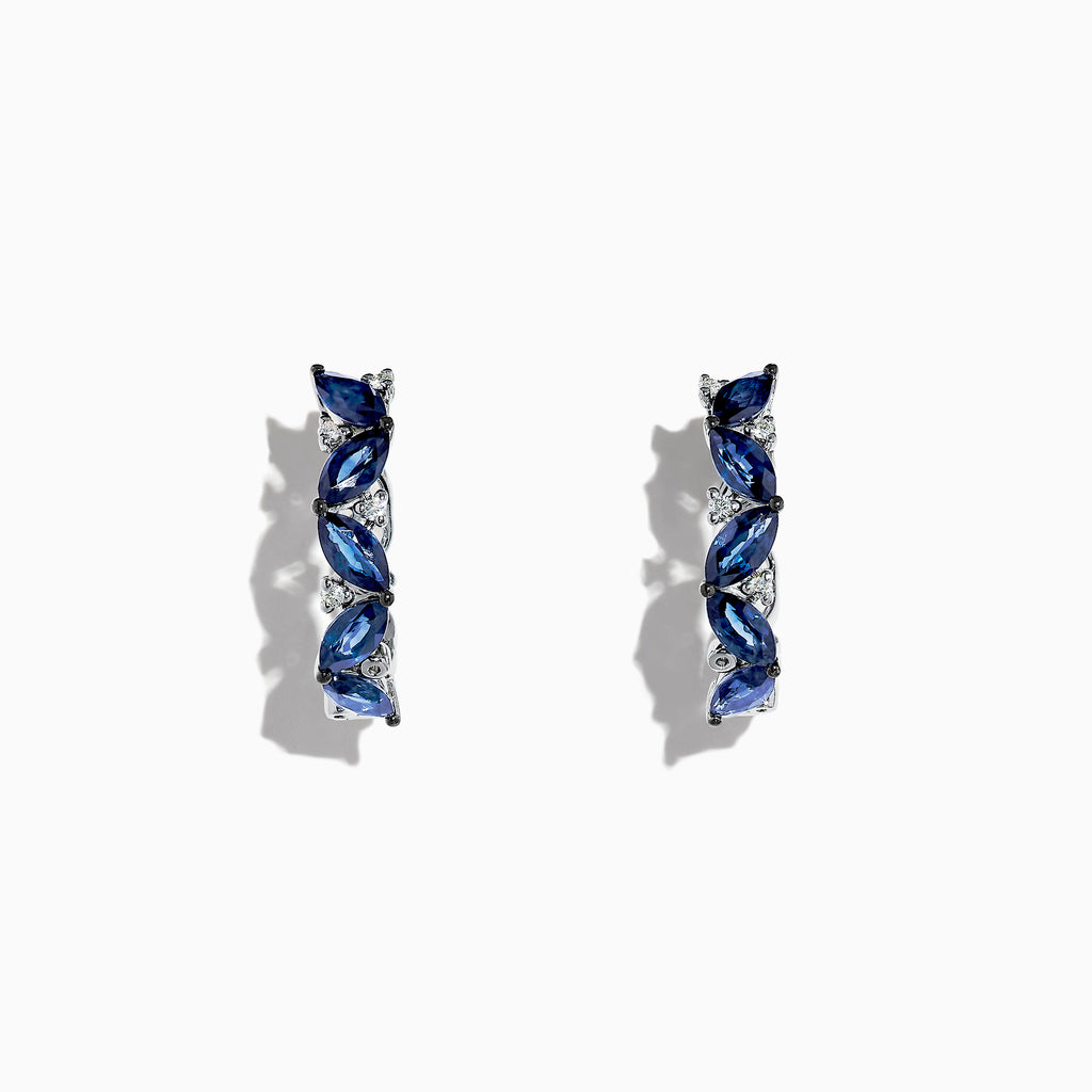 Effy Royale Bleu 14K White Gold Sapphire and Diamond Hoop Earrings, 3.41TCW