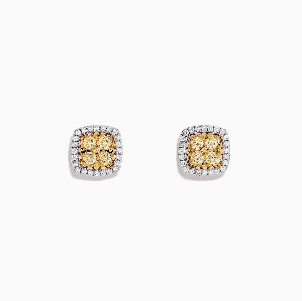 Effy Canare 18K Two Tone Gold Yellow and White Diamond Earrings, 0.54 TCW