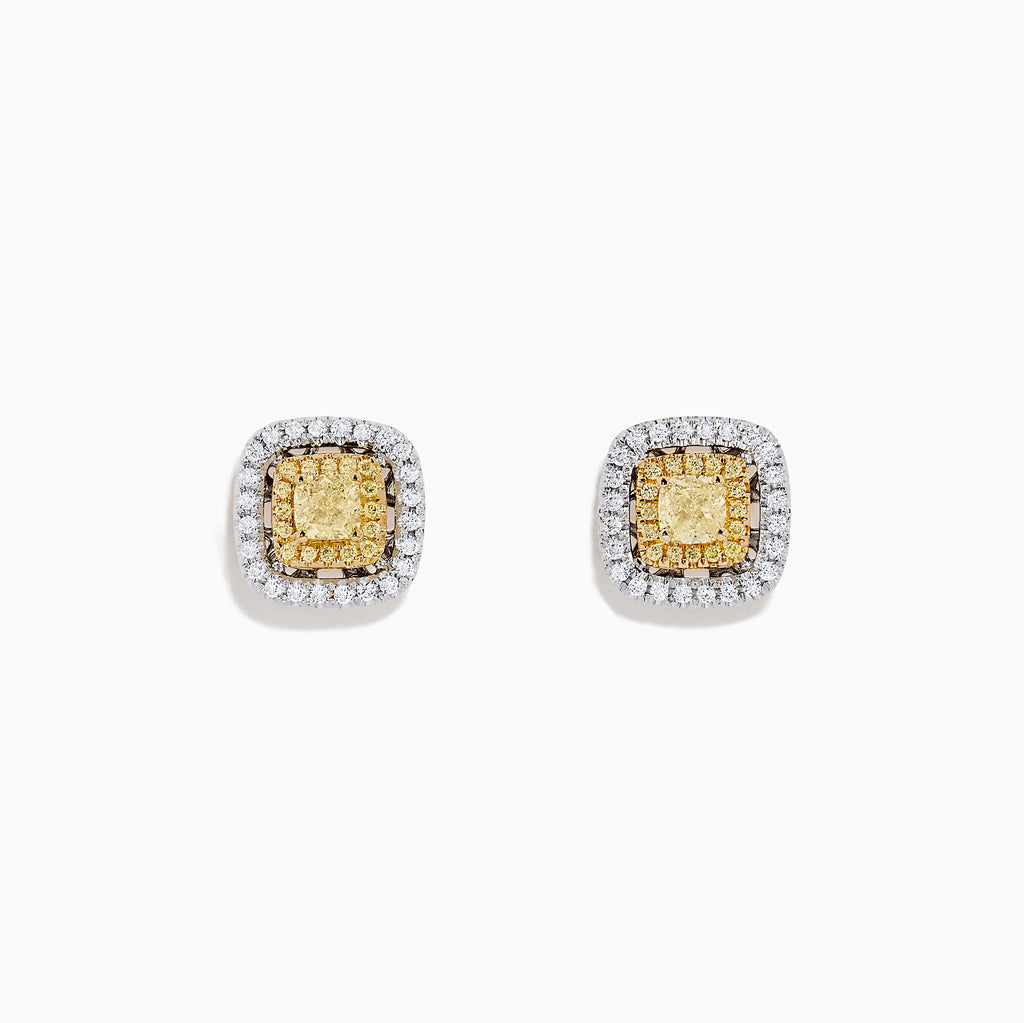 Effy Canare 18K Two Tone Gold Yellow and White Diamond Earrings, 0.76 TCW