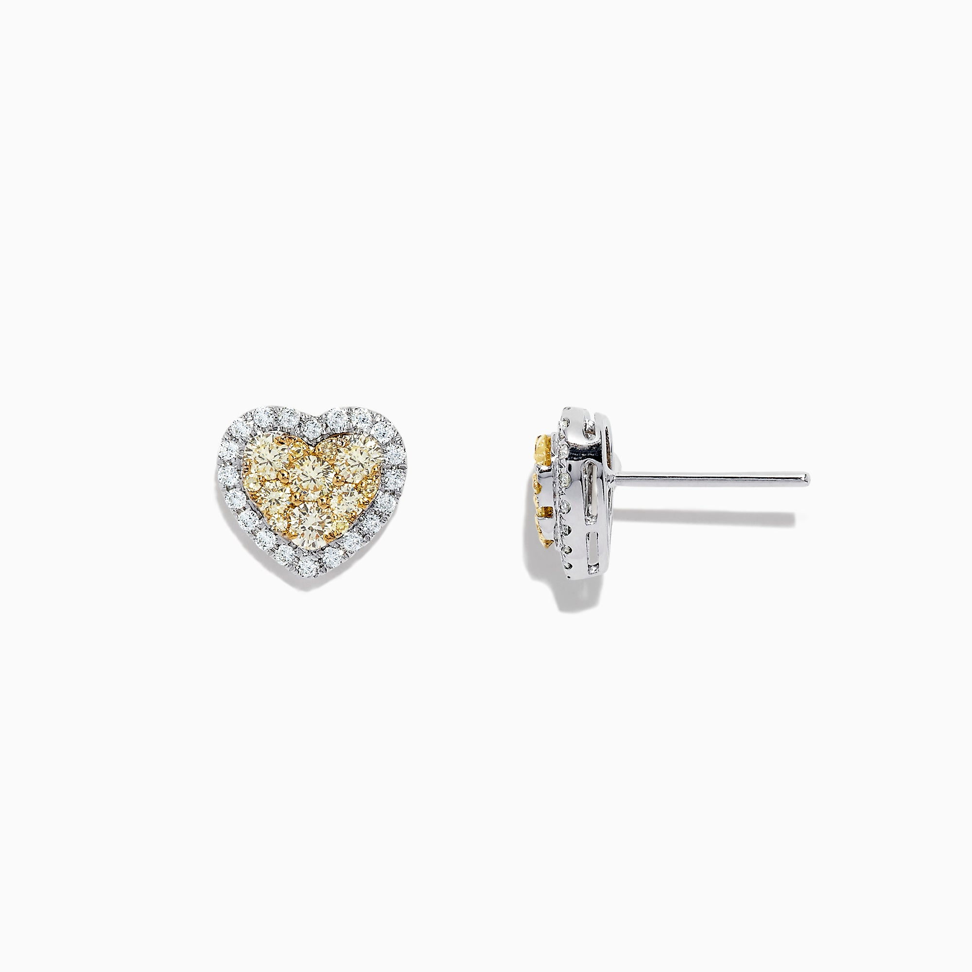 Effy Canare 14K Two Tone Gold Yellow and White Diamond Heart Earrings, 0.96 TCW