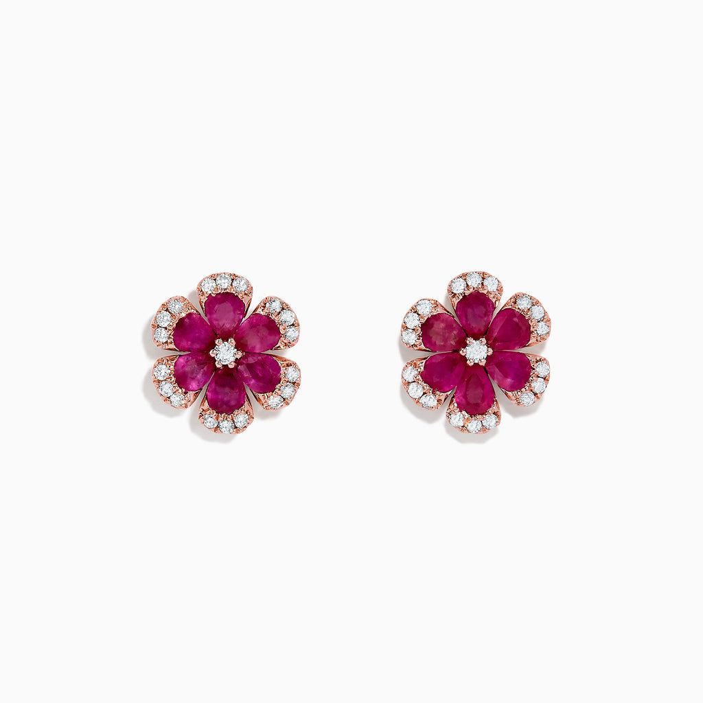 Effy Nature 14K Rose Gold Ruby and Diamond Flower Earrings, 2.28 TCW