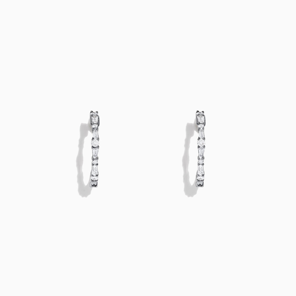 Effy Classique 14K White Gold Diamond Hoop Earrings, 0.37 TCW