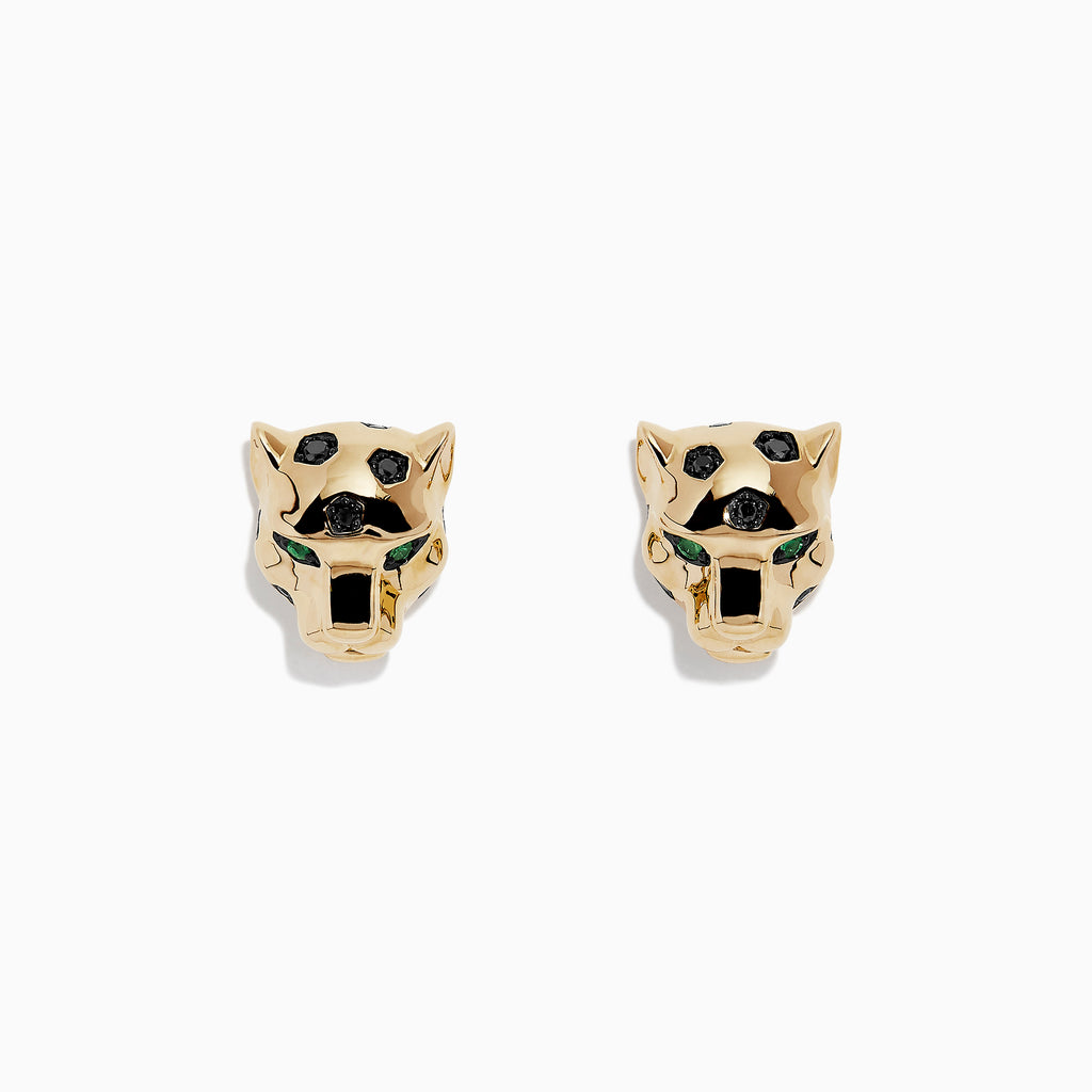 Effy Signature 14K Yellow Gold Black Diamond & Emerald Earrings, 0.18 TCW