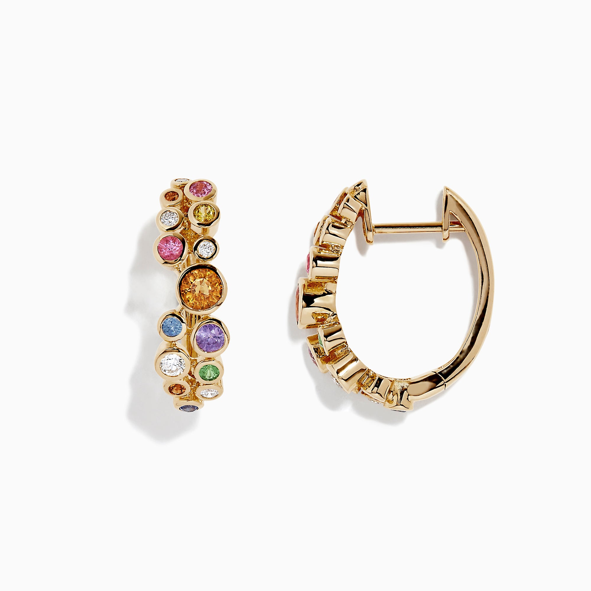 Effy Watercolors 14K Gold Multi Sapphire and Diamond Earrings, 1.59 TCW