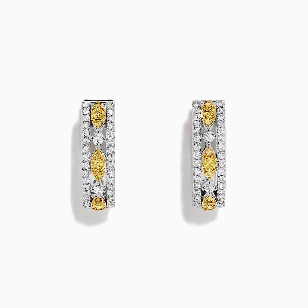 Effy Canare 14K White Gold Yellow and White Diamond Earrings, 0.67 TCW