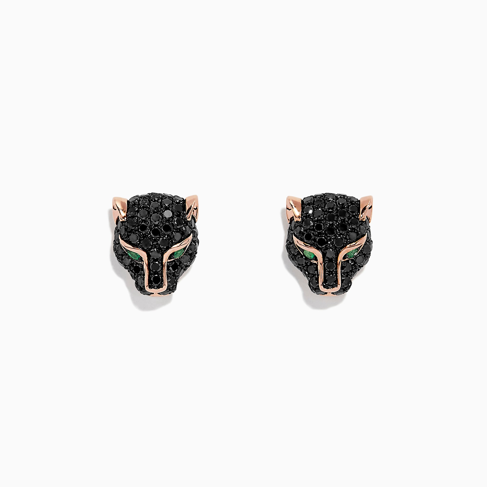 Effy Signature 14K Rose Gold Black Diamond & Emerald Earrings, 0.93 TCW