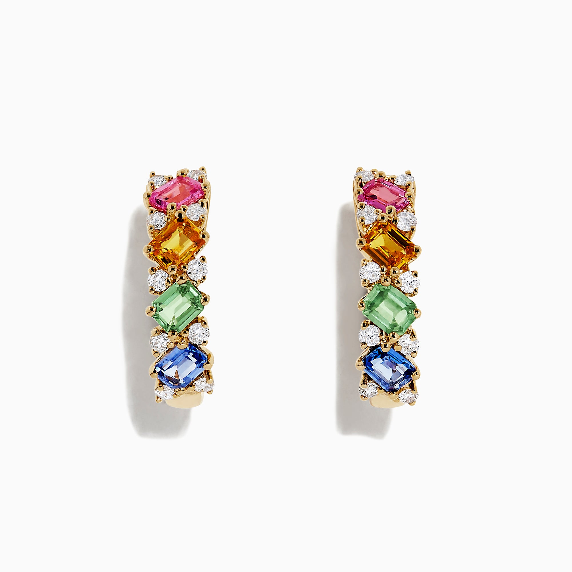 Effy Watercolors 14K Gold Multi Sapphire and Diamond Earrings, 2.48 TCW