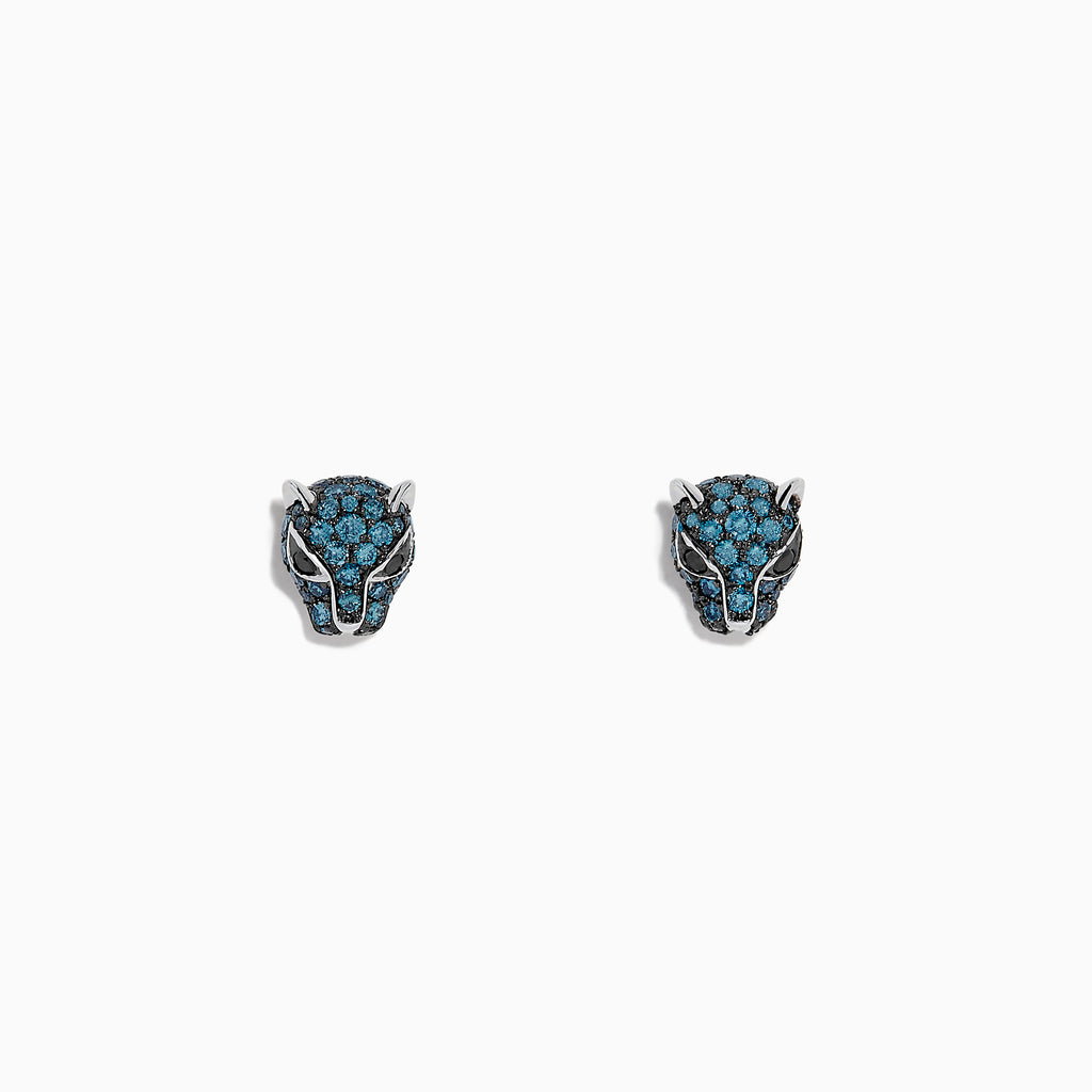 Effy Signature 14K White Gold Blue Diamond Mini Panther Earrings, 0.55 TCW