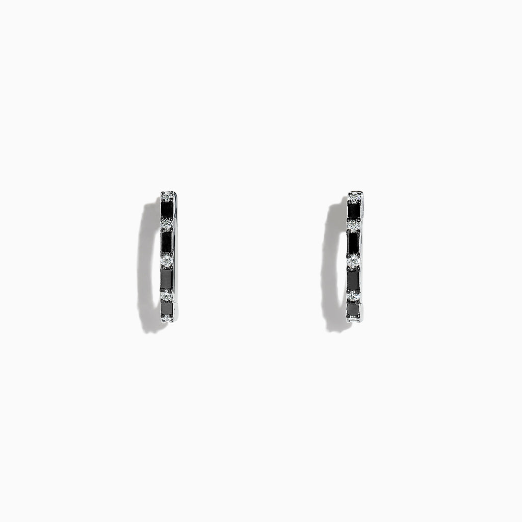 Effy 14K White Gold Black and White Diamond Hoop Earrings, 0.45 TCW