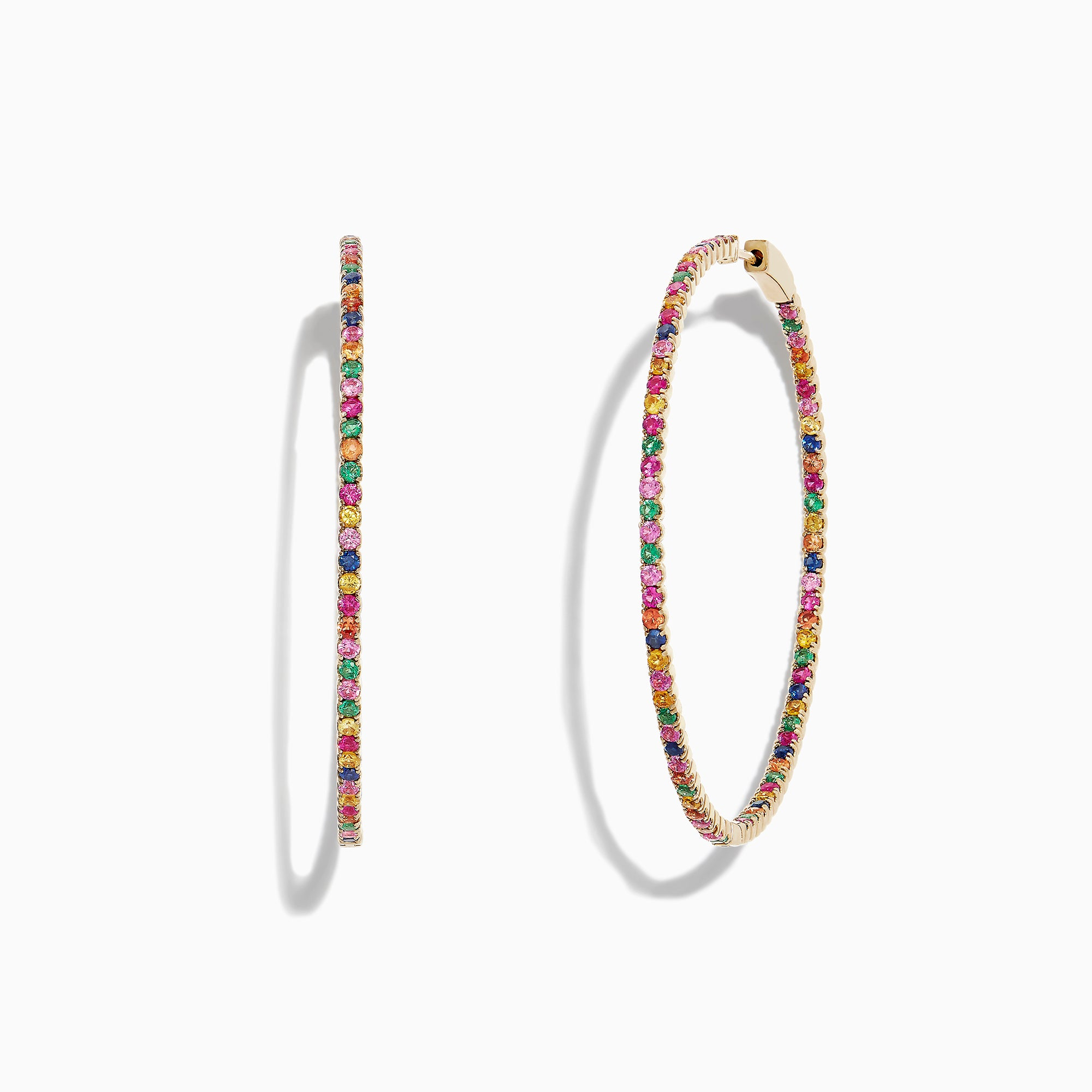 "Effy Watercolors 14K Yellow Gold Multi Sapphire 2"" Hoop Earrings, 3.62 TCW"