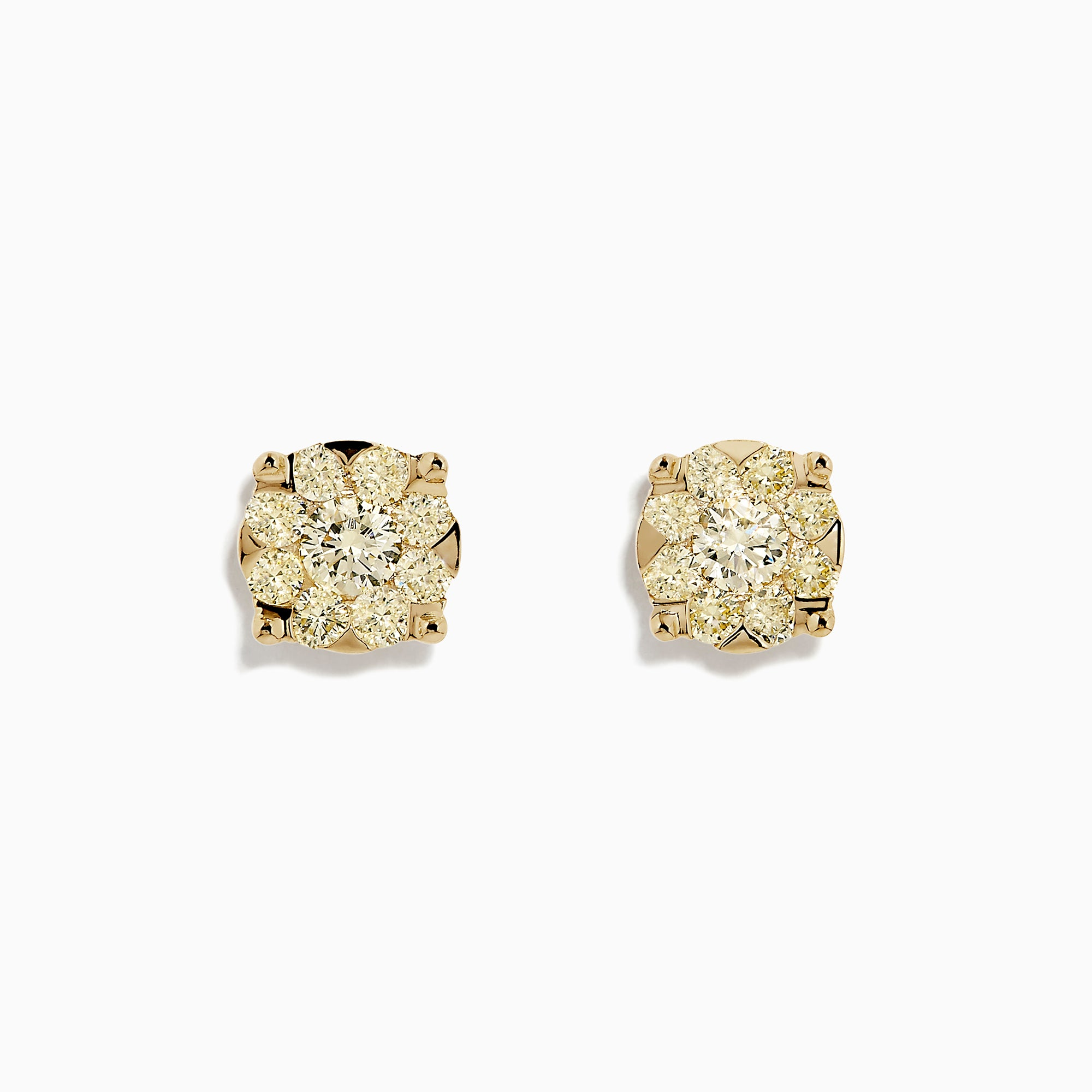Effy Canare 14K Yellow Gold Yellow Diamond Cluster Earrings, 1.41 TCW
