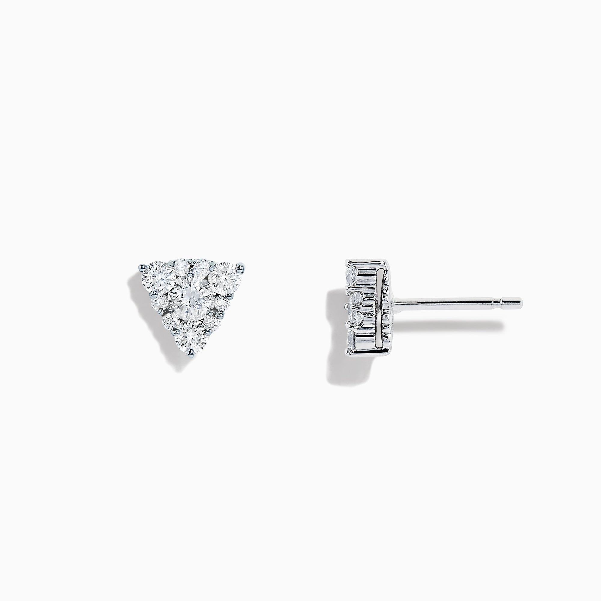 Effy Bouquet 14K White Gold Diamond Cluster Triangle Stud Earring, 0.47 TCW