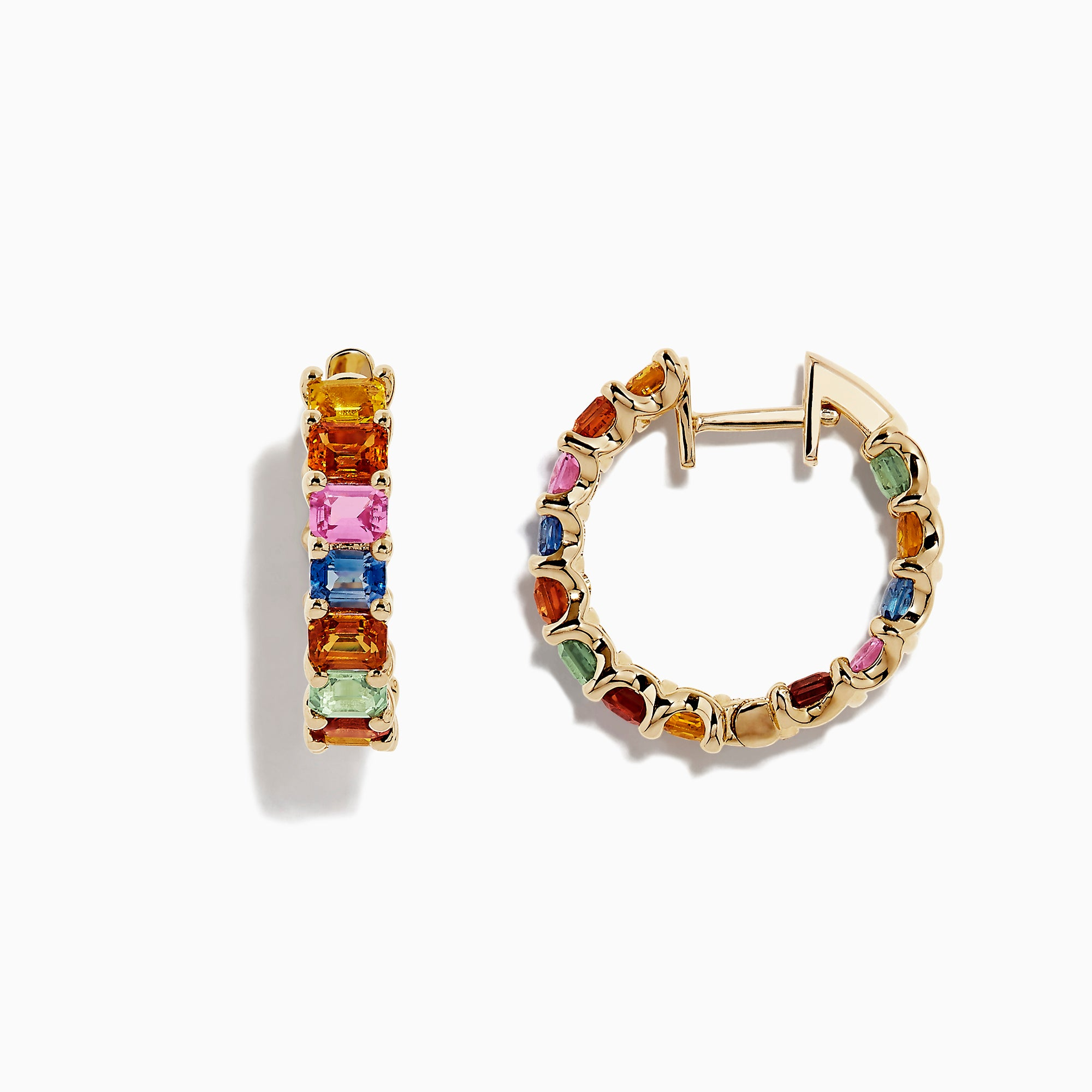 Effy Watercolors 14K Yellow Gold Multi Sapphire Hoop Earrings, 6.42 TCW