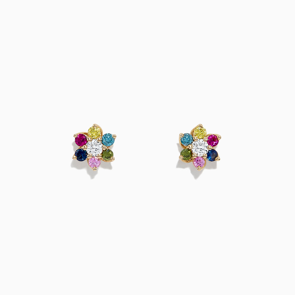 Effy Watercolors 14K Gold Multi Sapphire and Diamond Earrings, 0.46 TCW